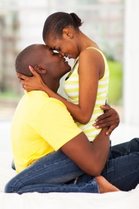 young african american couple kissing